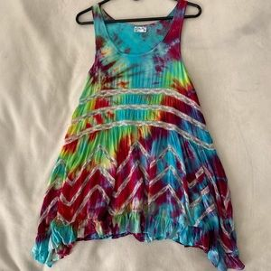 NWOT Voile and Lace Trapeze Slip Tie Dye